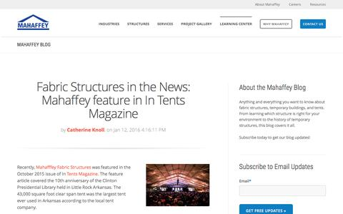 Screenshot of Blog mahaffeyusa.com - Fabric Structures, Workplace Safety, Temporary Tents - captured Feb. 20, 2016
