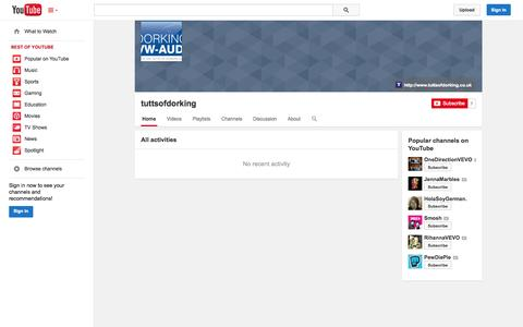Screenshot of YouTube Page youtube.com - tuttsofdorking  - YouTube - captured Oct. 26, 2014