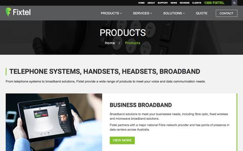 Screenshot of Products Page fixtel.com.au - Avaya IP Office | Telephone Systems & Handsets - Fixtel | Fixtel - captured Sept. 22, 2018