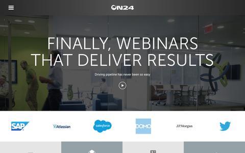 Screenshot of Home Page on24.com - ON24 | A Webinar Service Provider with an Award-Winning Platform - captured Dec. 12, 2016