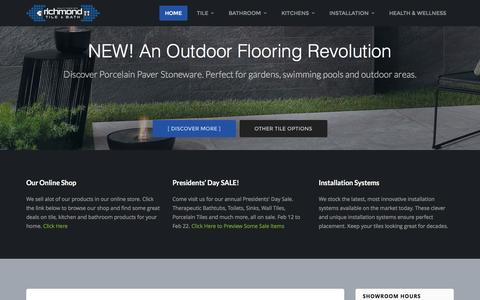 Screenshot of Home Page richmondtile.com - Richmond Tile & Bath | Your one-stop-shop for luxury tile, plumbing, and installation solutions. - captured Feb. 17, 2016
