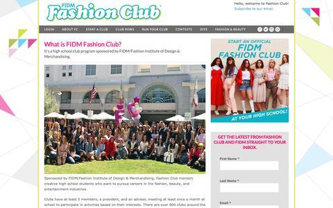 Screenshot of About Page Contact Page fashionclub.com - What is FIDM Fashion Club? | FashionClub.com – FIDM Fashion Club® Official Site - captured Oct. 22, 2018
