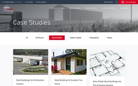 Screenshot of Case Studies Page gensteel.com - Steel Building Design Case Studies | General Steel - captured Sept. 27, 2018