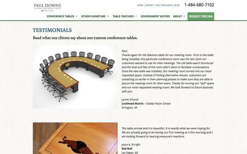 Screenshot of Testimonials Page custom-conference-tables.com - Custom Conference Tables Testimonials | Paul Downs Cabinetmakets - captured Oct. 25, 2016