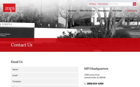 Screenshot of Contact Page mpival.com - MPI | Contact Us - MPI - Management Planning Inc. - captured Dec. 17, 2018
