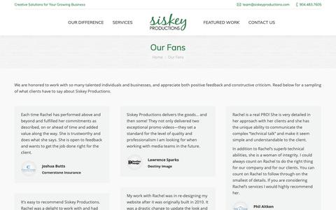Screenshot of Testimonials Page siskeyproductions.com - Testimonials from Happy Clients | Siskey Productions - captured Oct. 19, 2018