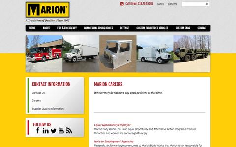 Screenshot of Jobs Page marionbody.com - Careers at Marion Body Works | Marion Body Works - captured Oct. 27, 2014