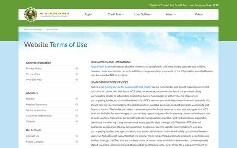 Screenshot of Terms Page autocreditexpress.com - Auto Credit Express Terms of Use - captured Oct. 31, 2014