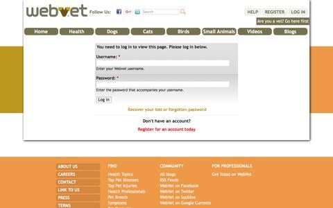 Screenshot of Login Page webvet.com - Log in - captured Dec. 6, 2016