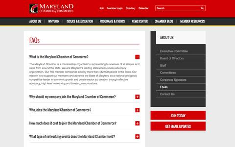 Screenshot of FAQ Page mdchamber.org - FAQs | Maryland Chamber of Commerce - captured Oct. 27, 2014