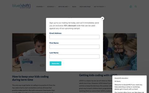 Screenshot of Press Page blueshiftcoding.com - blue{shift} education says… - captured Oct. 7, 2018