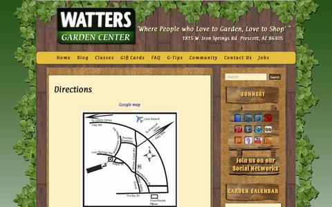 Screenshot of Maps & Directions Page wattersgardencenter.com - Directions - Watters Garden Center - captured Oct. 7, 2014