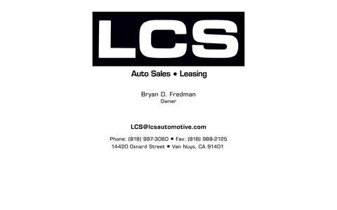 Screenshot of Home Page lcsautomotive.com - LCS Automotive  Van Nuys Ca. - captured Oct. 1, 2014
