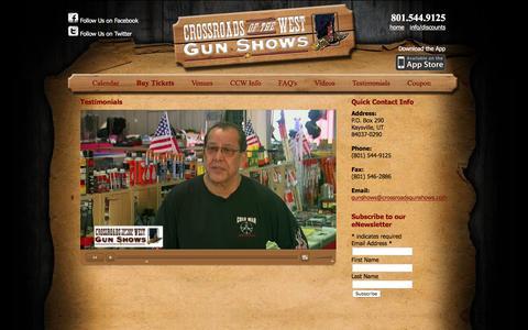 Screenshot of Testimonials Page crossroadsgunshows.com - Testimonials   Crossroads of the West Gunshows - captured April 7, 2016