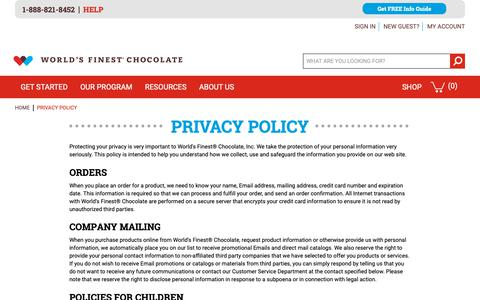 Screenshot of Privacy Page worldsfinestchocolate.com - World's Finest Chocolate Fundraising |  Privacy Policy - captured Oct. 20, 2018