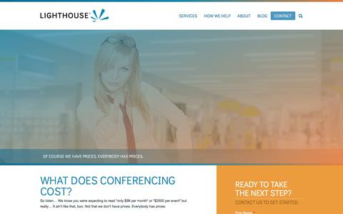 Screenshot of Pricing Page lighthouseconferencing.com - What Does Web Conferencing Cost | Lighthouse Conferencing - captured July 19, 2018