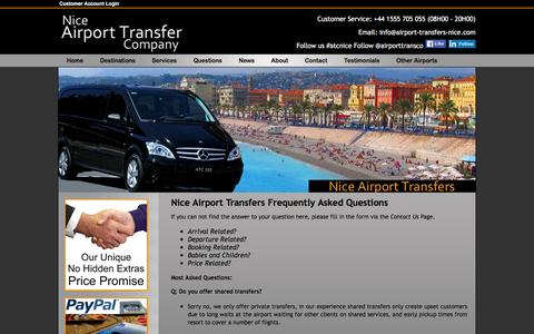 Screenshot of FAQ Page airport-transfers-nice.com - Nice Airport Transfer Company | Our Most Frequently Asked Questions - captured March 14, 2016