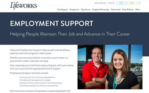 Screenshot of Support Page lifeworks.org - Employment Support for People With Disabilities - Lifeworks - captured Dec. 15, 2018