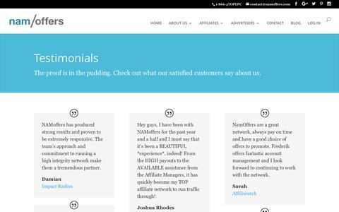 Screenshot of Testimonials Page namoffers.com - Testimonials - NAMoffers - captured June 22, 2017