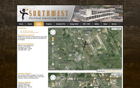 Screenshot of Contact Page Locations Page swecs.com - Southwest Electrical Contracting Services > Contact - captured Oct. 22, 2014