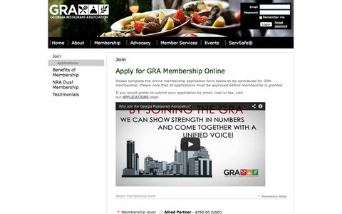 Screenshot of Signup Page garestaurants.org - Georgia Restaurant Association - Join - captured Oct. 2, 2014