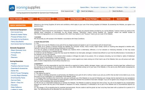 Screenshot of Terms Page ironingsupplies.co.uk - Ironing Supplies - Contact Details, Delivery Information, Warranties, Product Support and more... - captured Sept. 30, 2014