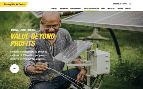 Screenshot of Products Page stanleyblackanddecker.com - Innovate with Purpose | Stanley Black and Decker - captured May 31, 2018