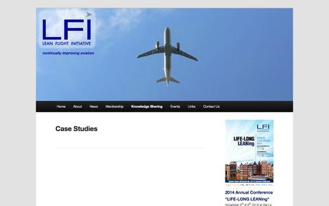 Screenshot of Case Studies Page leanflightinitiative.com - Case Studies   Lean Flight Initiative - captured Sept. 29, 2014