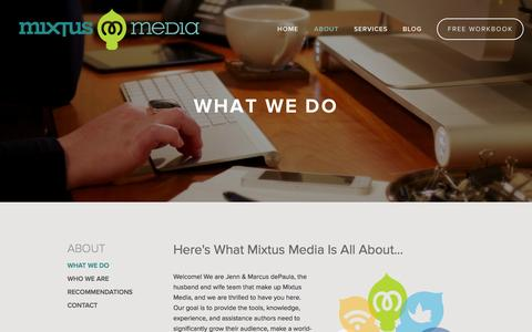 Screenshot of About Page mixtusmedia.com - What We Do — Mixtus Media - captured Nov. 5, 2014
