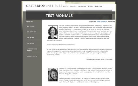 Screenshot of Testimonials Page criterioninstitute.org - Testimonials - captured Oct. 3, 2014