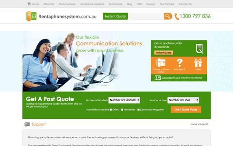 Screenshot of Support Page rentaphonesystem.com.au - Support | Home - captured Jan. 15, 2016