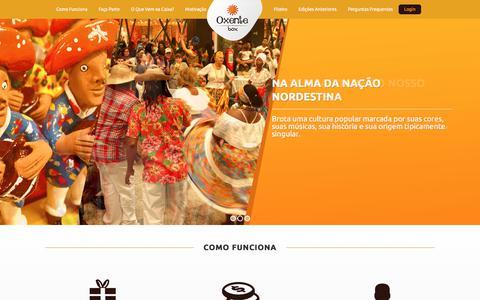 Screenshot of Home Page oxentebox.com.br - Clube de Assinatura de Produtos Nordestinos | Oxente Box - captured Nov. 1, 2017