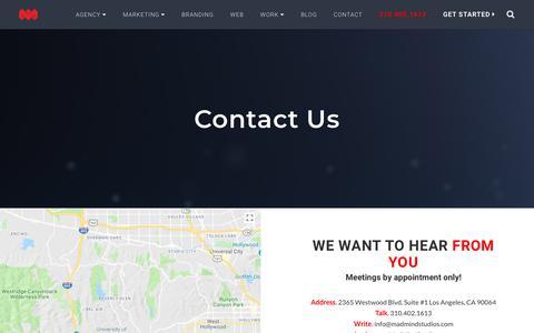 Screenshot of Contact Page madmindstudios.com - Contact Mad Mind Studios | We Built Great Brands - captured July 27, 2018