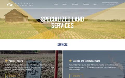 Screenshot of Services Page phoenixland.ca - Services | Phoenix Land Services | Full Service Land Broker - captured Jan. 28, 2016