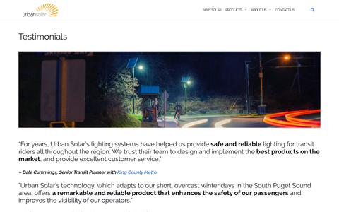 Screenshot of Testimonials Page urbansolarcorp.com - Testimonials - Urban Solar - captured May 19, 2019