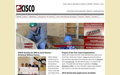 Screenshot of Home Page cisco.org - CISCO    Construction Industry Service Corporation - captured Oct. 3, 2014
