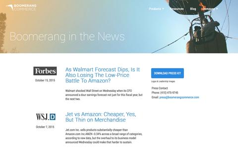 Screenshot of Press Page boomerangcommerce.com - Boomerang Commerce - captured Oct. 21, 2015