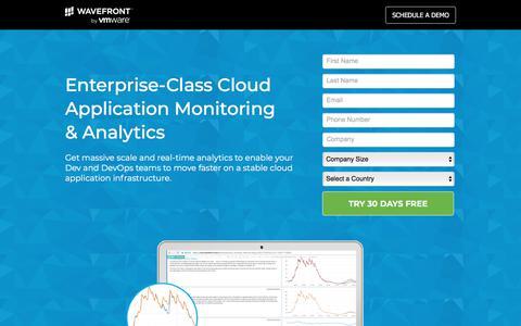 Screenshot of Landing Page wavefront.com - Cloud Monitoring | Cloud Application Monitoring - captured Sept. 19, 2018