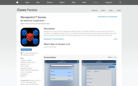 Screenshot of iOS App Page apple.com - Movegistics™ Survey on the App Store on iTunes - captured Nov. 5, 2014