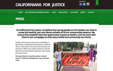 Screenshot of Press Page caljustice.org - Press  |  Californians for Justice | Fighting for racial and educational justice! - captured April 9, 2017