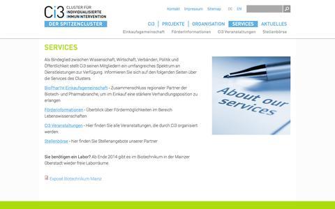 Screenshot of Services Page ci-3.de - Services | Ci3 - Cluster für individualisierte Immunintervention - captured Oct. 2, 2014
