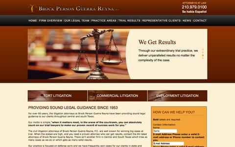 Screenshot of Home Page bpgrlaw.com - Home | Brock Person Guerra Reyna - A Professional Corporation | - captured Feb. 8, 2016