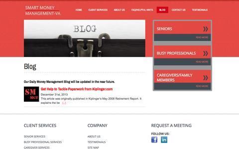 Screenshot of Blog smartmoneymgt-va.com - Daily Money Management Blog   Northern Virginia   AADMM   Smartmoney-management - captured Oct. 7, 2014