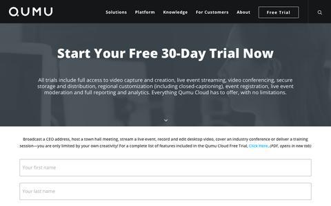 Screenshot of Trial Page qumu.com - Start Your Free 30-Day Trial Now | Qumu Enterprise Video - captured Sept. 20, 2018