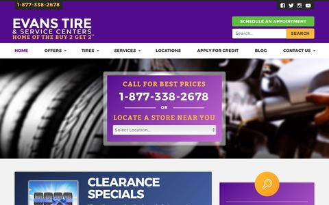 Screenshot of Home Page evanstire.com - Tires & Automotive Services in San Diego, CA | Evans Tire - captured May 21, 2017