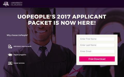 Screenshot of Landing Page uopeople.edu captured April 27, 2017