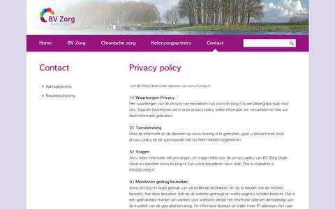 Screenshot of Privacy Page bvzorg.nl - Privacy policy - Contact - captured Dec. 18, 2018
