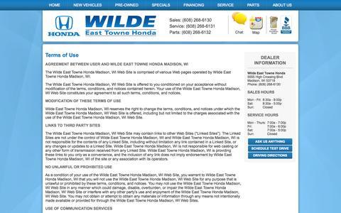 Screenshot of Terms Page wildeeasttownehonda.com - Wilde East Towne Honda 608-242-5500 Honda Dealership Madison serving Janesville Sun Prairie Wisconsin - captured Oct. 1, 2014