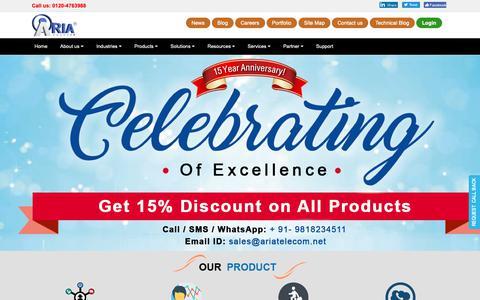 Screenshot of Home Page ariatelecom.net - Aria Telecom: Telecom solutions, telecom software - captured Nov. 12, 2018