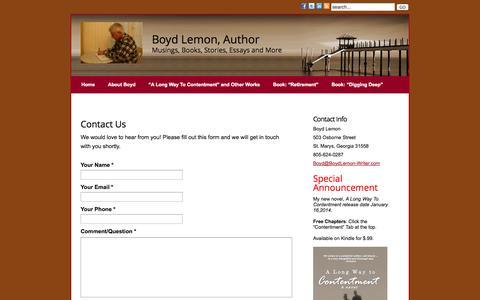Screenshot of Contact Page boydlemon-writer.com - Contact Us » Boyd Lemon, Writer - captured Oct. 5, 2014